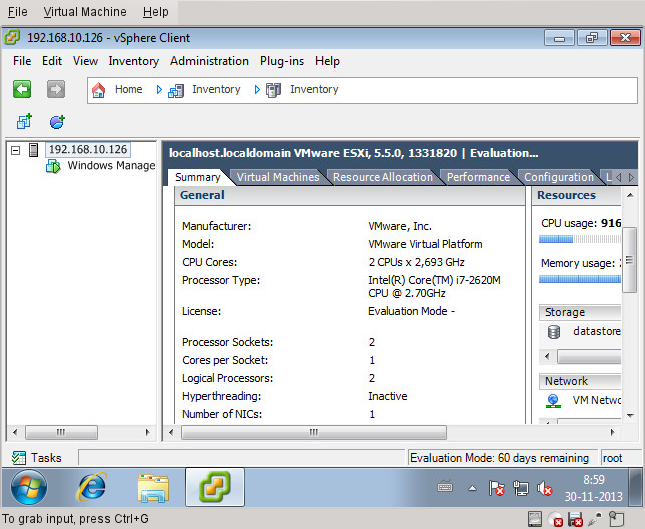 Management VM console in VMware Player