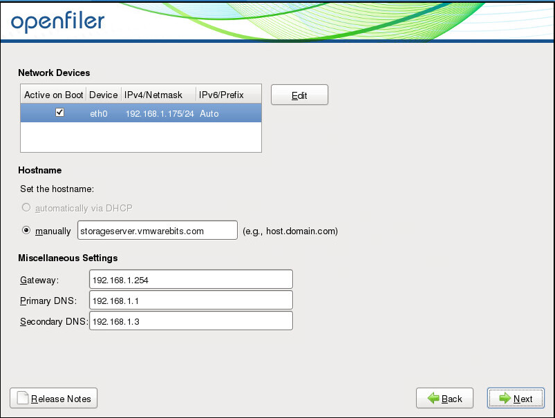 Openfiler IP configuration
