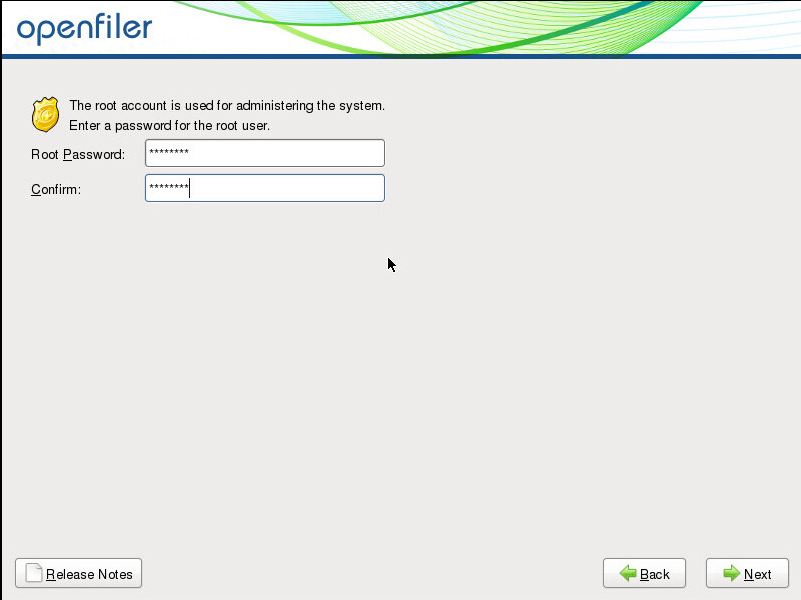 Openfiler root password