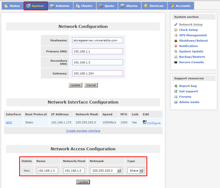 Openfiler network access configuration