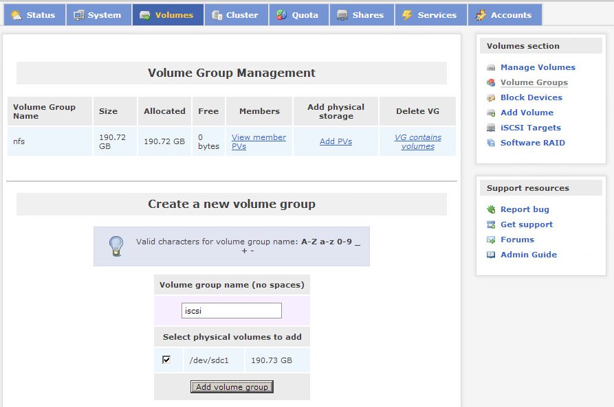 Openfiler add iSCSI volume group