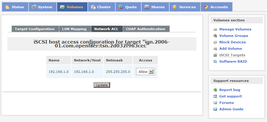 Openfiler network access for iSCSI