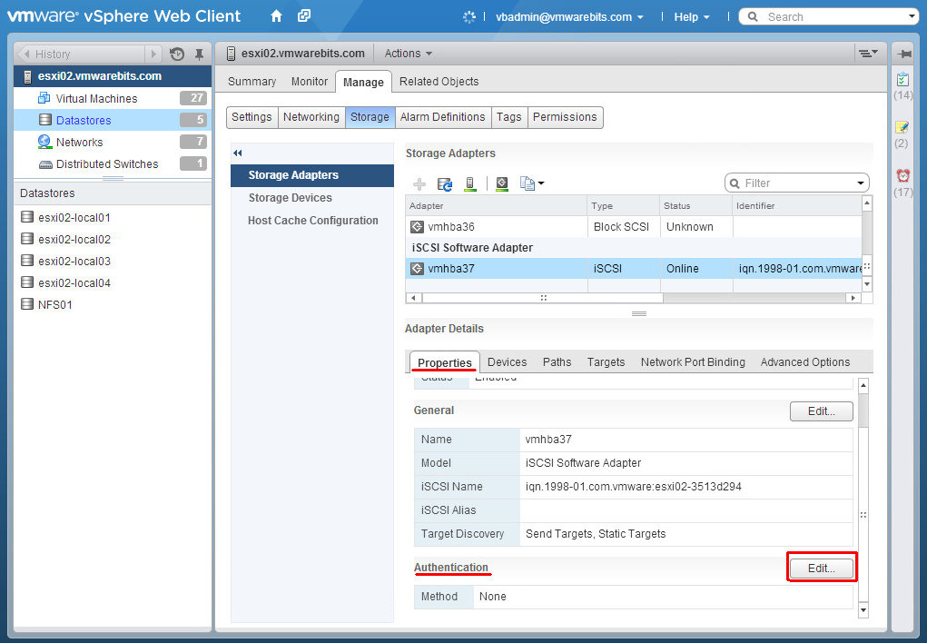 Openfiler add CHAP to ESXi