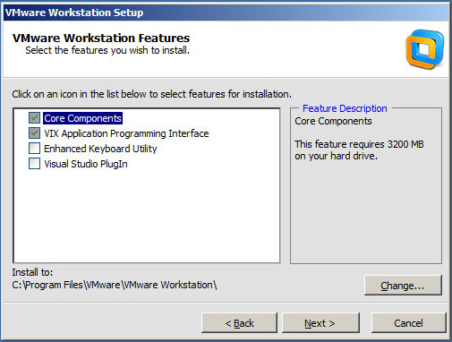 VMware Workstation setup components