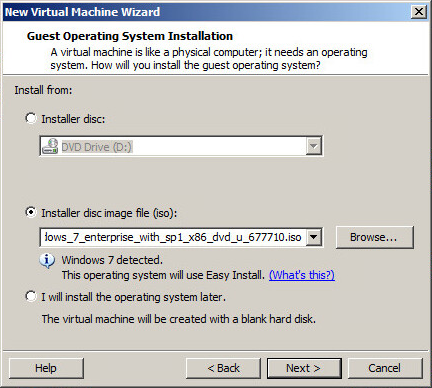 VM creation wizard choose installation medium
