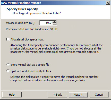 VM creation wizard disk space and options