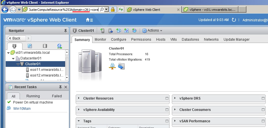 get MOID for cluster with vSphere Web Client