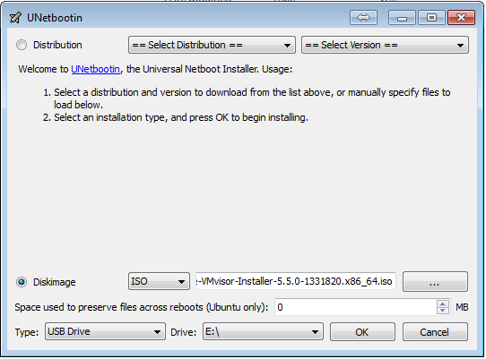 UNetbootin screenshot for ESXi bootable USB key