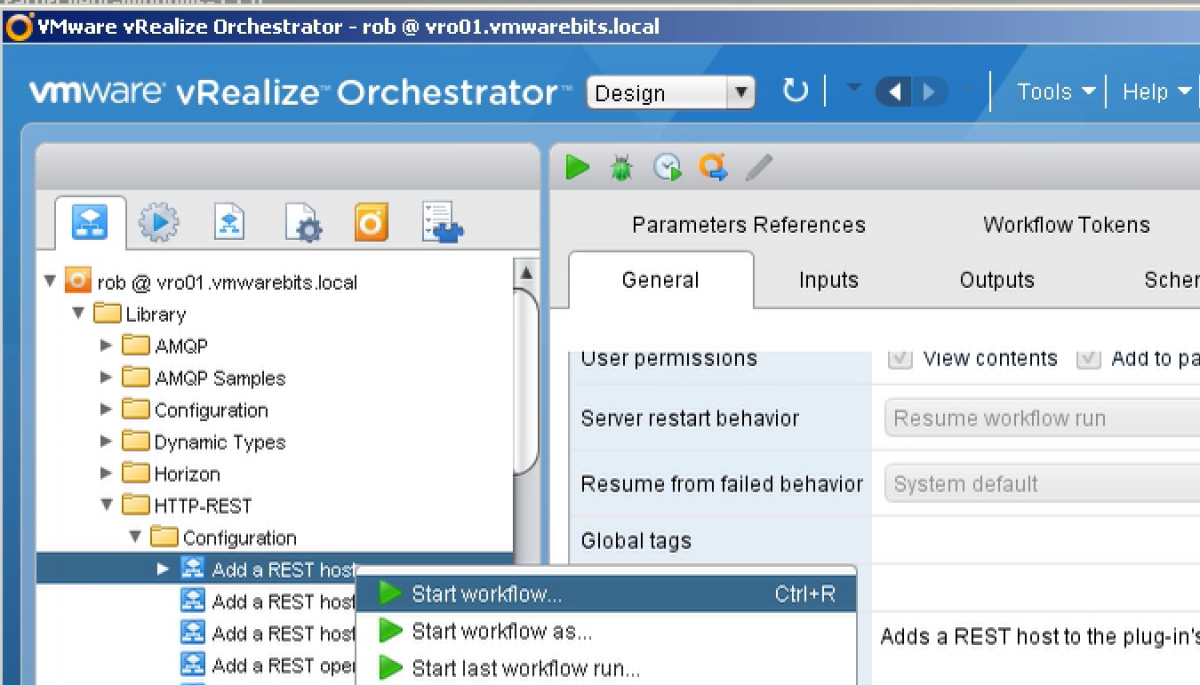 vCenter Orchestrator create rest host