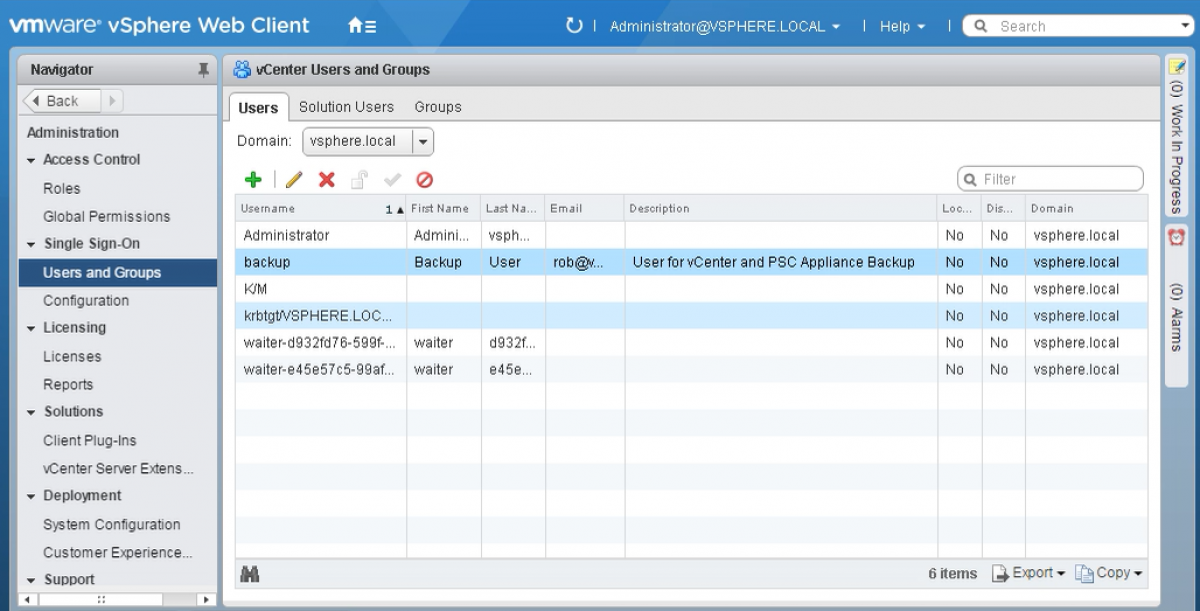 vCenter create SSO user for backup