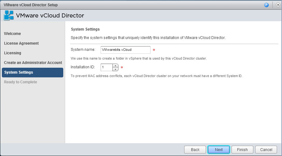 vCloud Director system name and installation ID