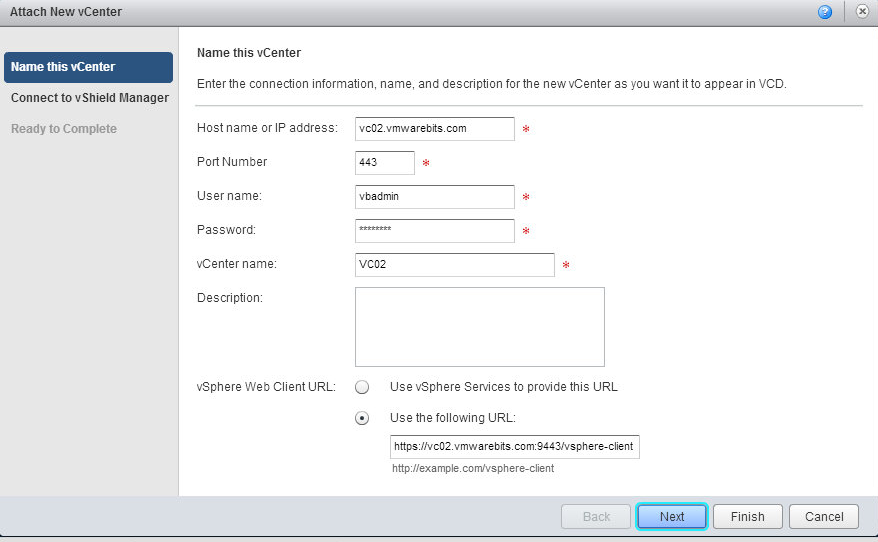 vCloud Director attach vCenter