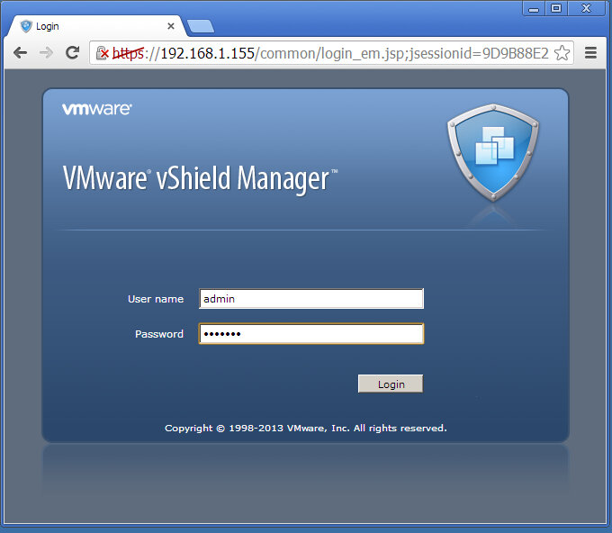 vShield Manager login