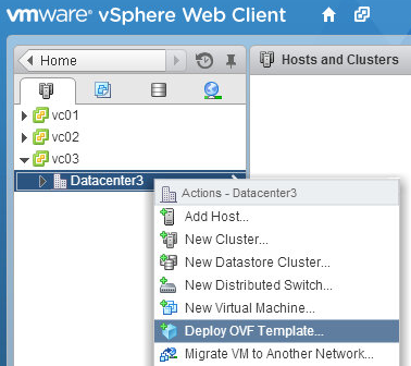 vSphere Web Client deploy OVF template