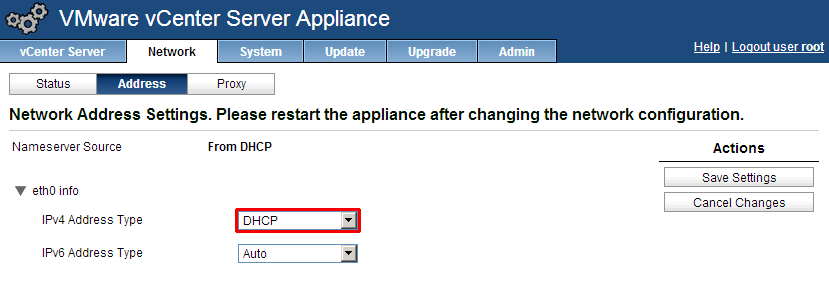 vCenter appliance DHCP
