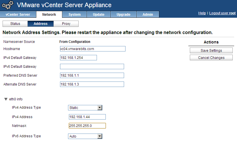 vCenter appliance Ip address settings